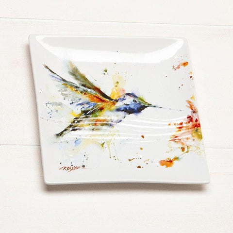 Hummingbird Stoneware Snack Plate | Dean Crouser