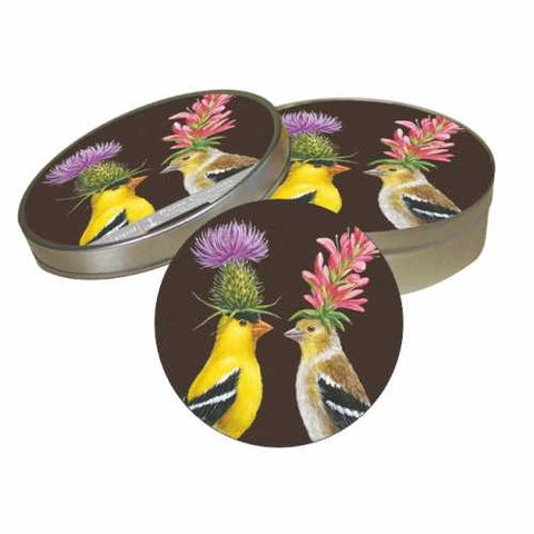 Goldfinch Couple Coaster Set | Vicki Sawyer