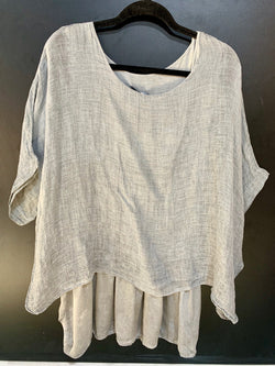 Amici Made In Italy Linen and Silk Layered Top - Amici - FASHION - Paloma + Co Adelaide Boutique