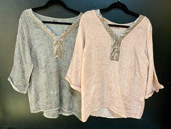 Amici Made In Italy V-Neck Sequin Linen Top - Amici - FASHION - Paloma + Co Adelaide Boutique