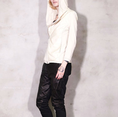 NO, NO, YES! Leather Jacket Top with Hood Off White smoke beige - No, No, Yes! - Fashion - Paloma + Co Adelaide Boutique