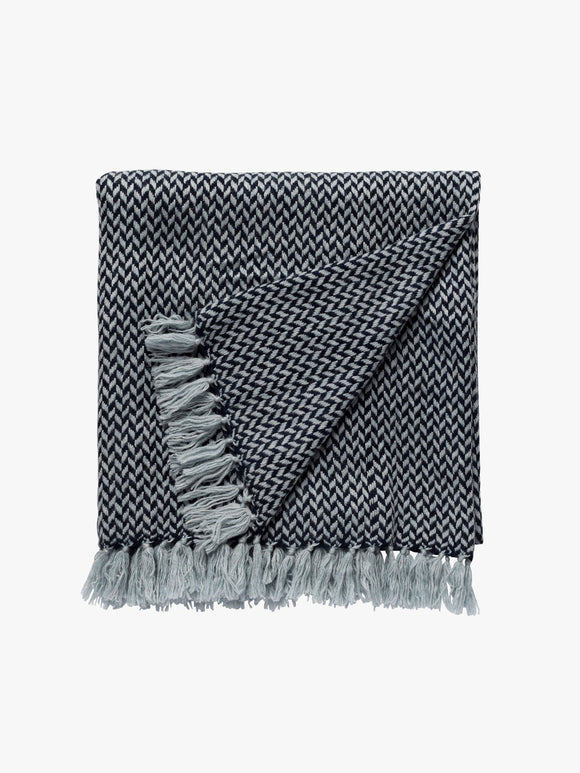 A L and M Home Cashmere Copenhagen Navy Throw