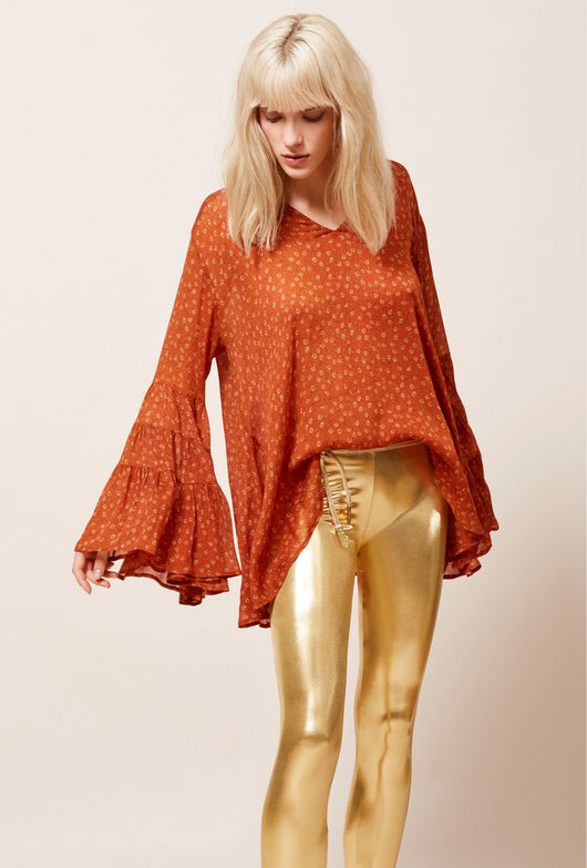 S Mes Demoiselles Fiorella Orange Floral Top - Mes Demoiselles - FASHION - Paloma + Co Adelaide Boutique