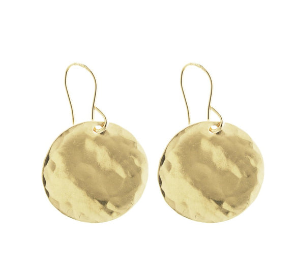Misuzi Hammered Disc Earrings Gold - Misuzi - Jewellery - Paloma + Co Adelaide Boutique
