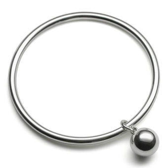 Silver Bangle with Ball Charm