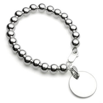 Silver Ball Bracelet with Disc Charm