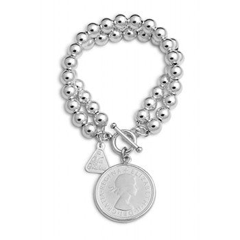 Sterling Silver 8mm Plain Double Ball Bracelet with Florin Coin