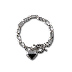 Von Treskow SOLID SILVER BRACELET WITH PUFFY HEART - Von Treskow - Jewellery - Paloma + Co Adelaide Boutique
