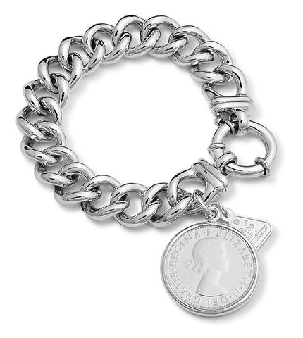 Von Treskow link bracelet with coin.     A classic piece of sterling silver jewellery.. 925 silver, Australian made and designed.