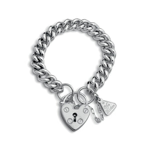 Von Treskow Sterling SILVER SMALL MAMA HEART PADLOCK BRACELET - Von Treskow - Jewellery - Paloma + Co Adelaide Boutique