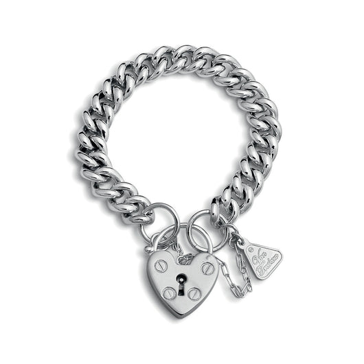 Von Treskow Sterling SILVER SMALL MAMA HEART PADLOCK BRACELET