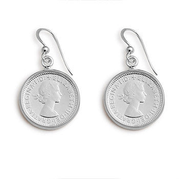 Sterling Silver Authentic 6 Pence Coin Earrings