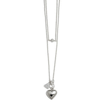 Sterling Silver 80cm Ball Chain with Puffy Heart
