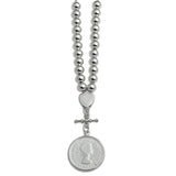 Von Treskow Sterling Silver SILVER SHIELD NECKLACE WITH FLORIN COIN
