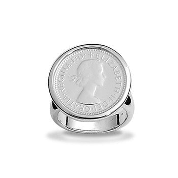 Sterling Silver Authentic 6 Pence Coin Ring