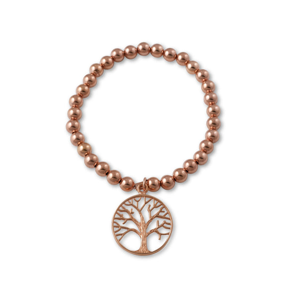Von Treskow Rose Gold Stretch bracelet with the Tree of Life Charm - Von Treskow - Jewellery - Paloma + Co Adelaide Boutique
