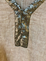 S Amici Made In Italy V-Neck Sequin Linen Top - Amici - FASHION - Paloma + Co Adelaide Boutique