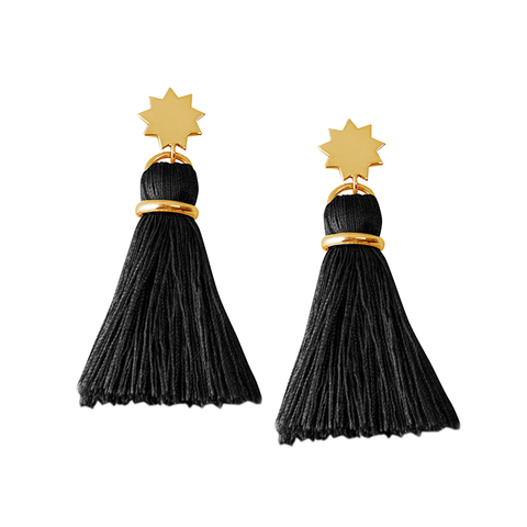 Cinquante Shine Bright Tassel Black and Brass Earring - Cinquante - Jewellery - Paloma + Co Adelaide Boutique