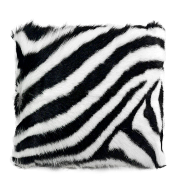 Goat Soft Fur Cushion Zebra