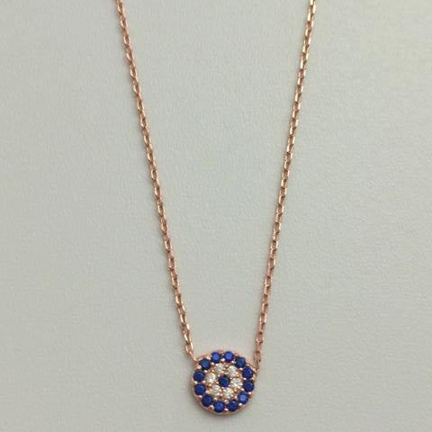 Gammie Sterling Silver Rose Gold Plated Fine Link Eye Of Protection Necklace. - Gammies - Jewellery - Paloma + Co Adelaide Boutique