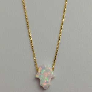 Gammie Opal Humsa Fine Chain Gold Plated Necklace