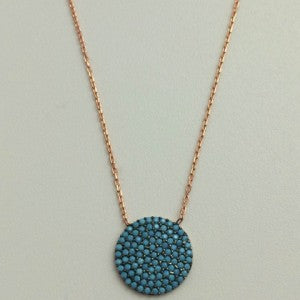Circle Turquoise  Gold Filled  Fine Chain Necklace
