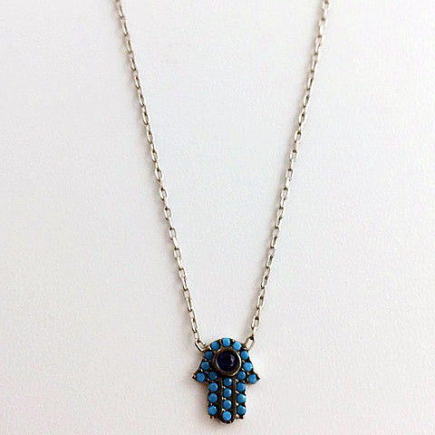 Gammie Hamsa Hand Turquoise Sterling Silver Fine Chain Necklace - Gammies - Jewellery - Paloma + Co Adelaide Boutique
