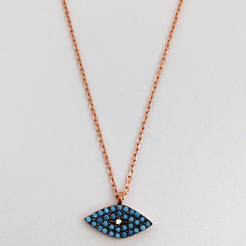 Gammie Eye Of Protection Turquoise Rose Gold Plated Fine Chain Necklace - Gammies - Jewellery - Paloma + Co Adelaide Boutique