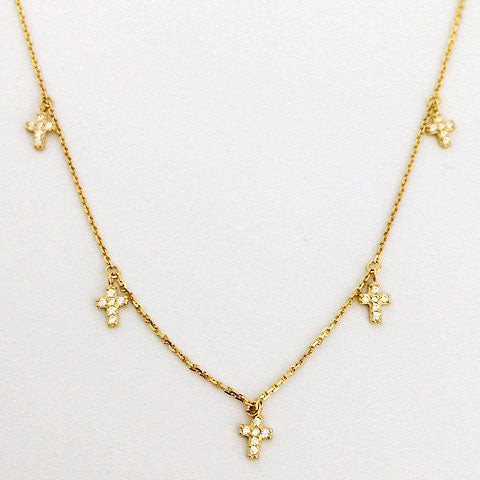 Gammie Multi Cross Crystal Fine Chain Necklace - Gammies - Jewellery - Paloma + Co Adelaide Boutique