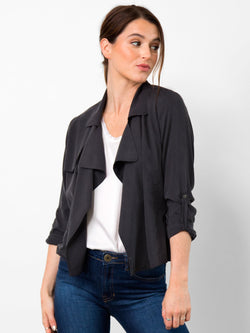 Go by Go Silk Trenches Silk Jacket Washed Black - Go Silk - FASHION - Paloma + Co Adelaide Boutique