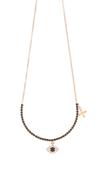 Gregio evil eye and cross necklace rose gold - Gregio - Jewellery - Paloma + Co Adelaide Boutique