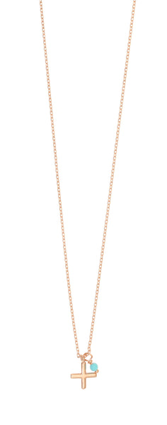 Gregio Cross Necklace Rose Gold and blue stone - Gregio - Jewellery - Paloma + Co Adelaide Boutique