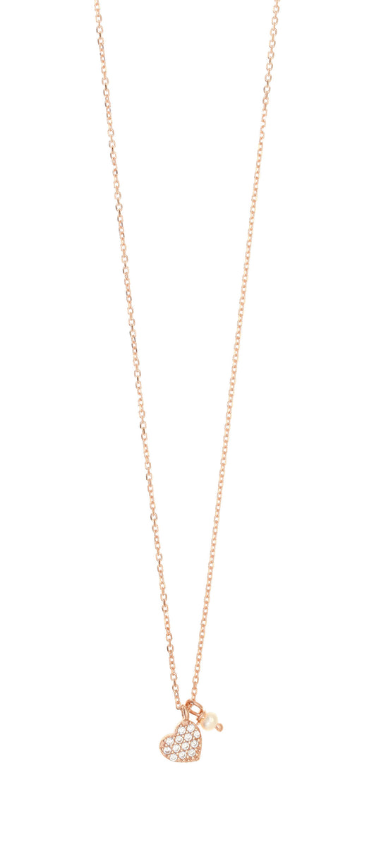Gregio heart crystal necklace with pearl rose gold - Gregio - Jewellery - Paloma + Co Adelaide Boutique