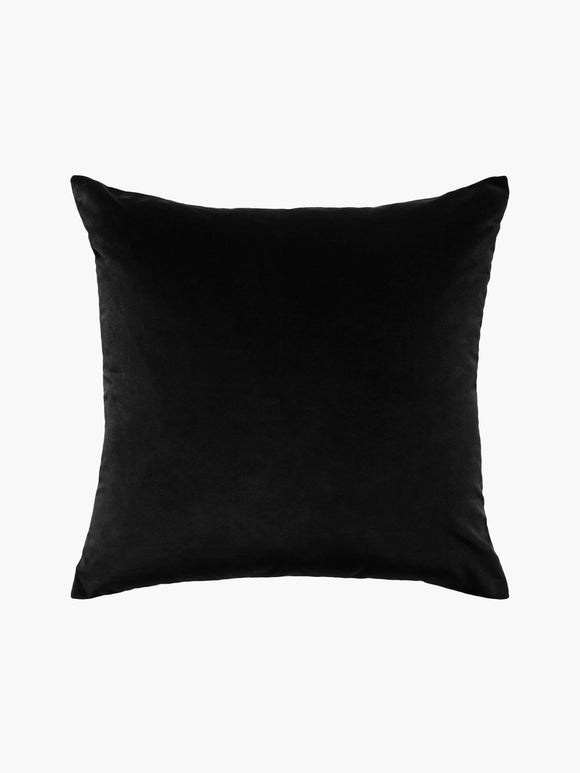 L M Home Etro Black Velvet and Linen Cushion