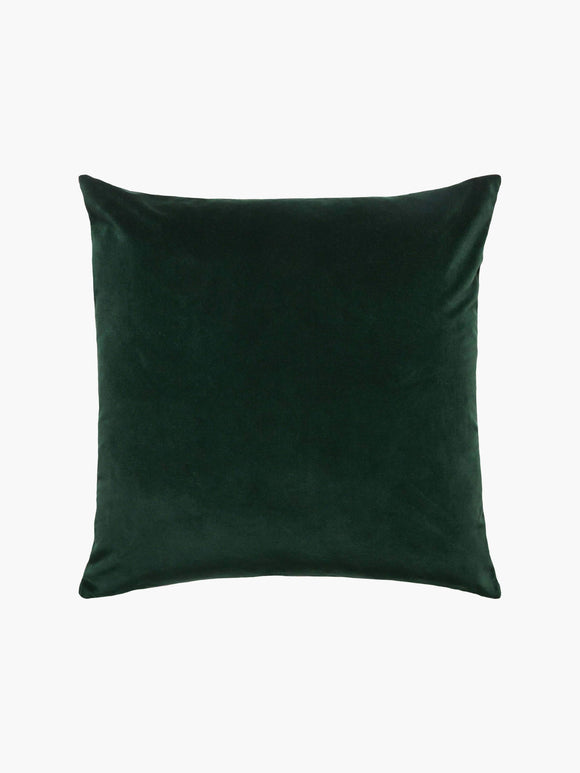 L M Home Etro Forest Green Velvet and Linen Cushion