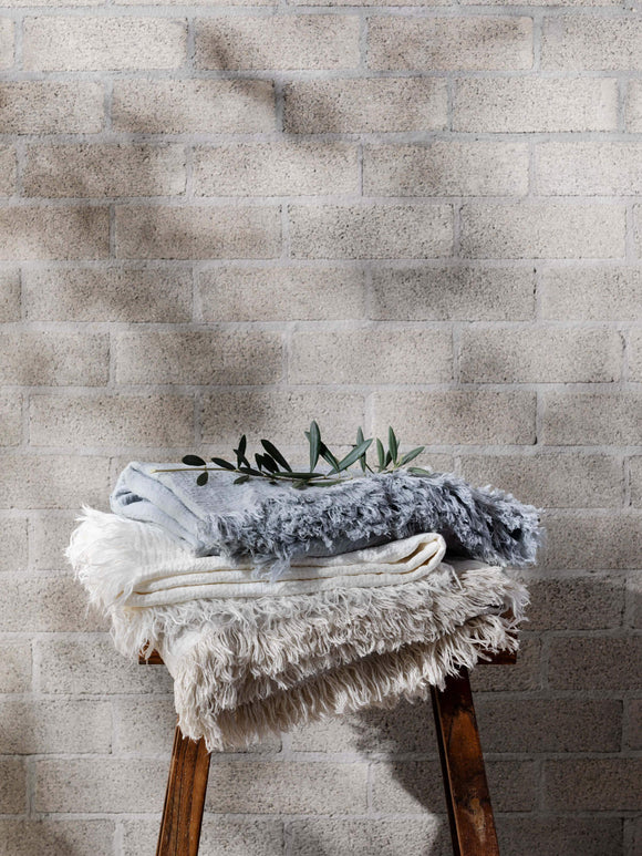 L and M Home Ava Nougat Linen Throw