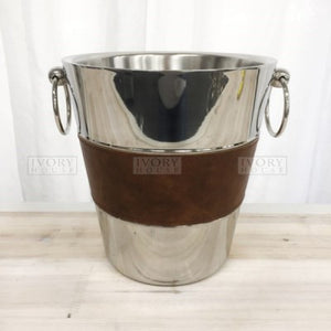 Bucket Stainless Leather Trim Wine Cooler