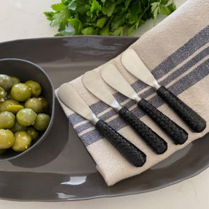 Cheese Pate Plait Black Set of Four Knives