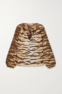 A Mes Demoiselles Tiger Print Top