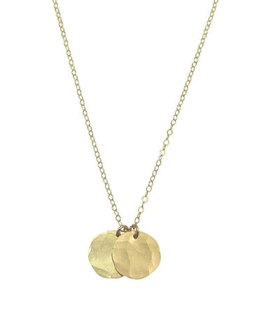 Misuzi Double Hammered Disc Necklace Gold - Misuzi - Jewellery - Paloma + Co Adelaide Boutique