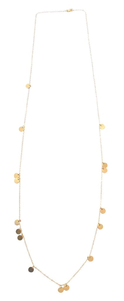 Misuzi The Neva - Long Mini Disc Necklace Gold - Misuzi - Jewellery - Paloma + Co Adelaide Boutique