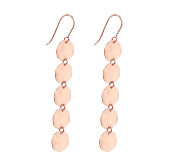 Misuzi 5 Mini Disc Earring Hammered Rose Gold - Misuzi - Jewellery - Paloma + Co Adelaide Boutique