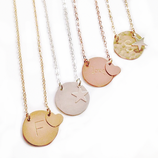 Misuzi The Kate - Gold, Silver, Rose Gold Disc with HEART charm - Misuzi - Jewellery - Paloma + Co Adelaide Boutique
