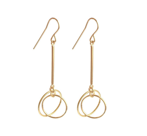 Misuzi Bar Earring with Double Small Ring Gold - Misuzi - Jewellery - Paloma + Co Adelaide Boutique