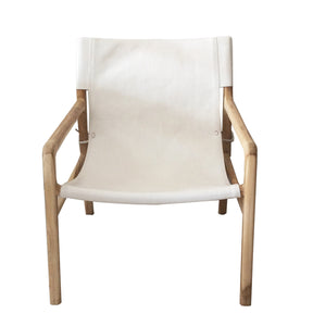 Chair White Leather Wooden Frame MRD
