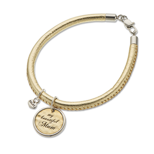 Palas Charm and Gold Leather Bracelet Set My Beautiful Mum Charm