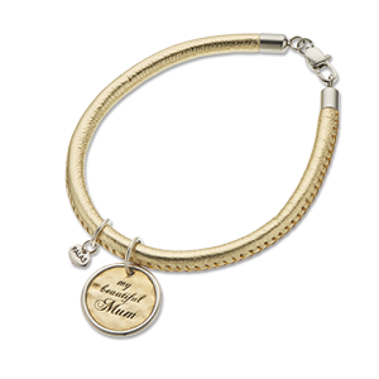 Palas Charm and Gold Leather Bracelet Set My Beautiful Mum Charm - Palas - Jewellery - Paloma + Co Adelaide Boutique