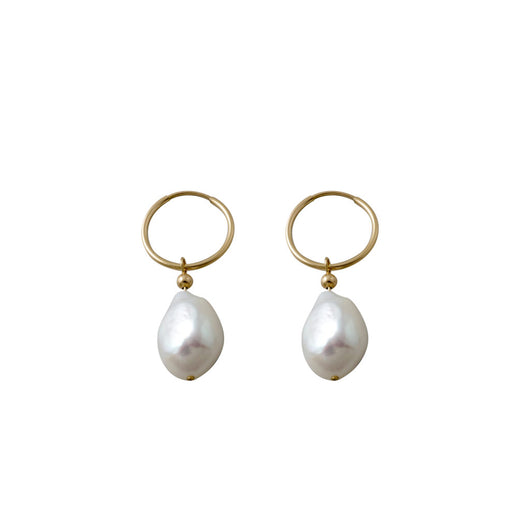 Von Treskow Yellow Gold Hoop Baroque Pearl Earrings