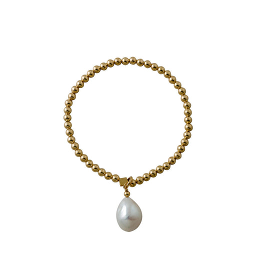 Von treskow Yellow Gold Stretchy Baroque Pearl Bracelet