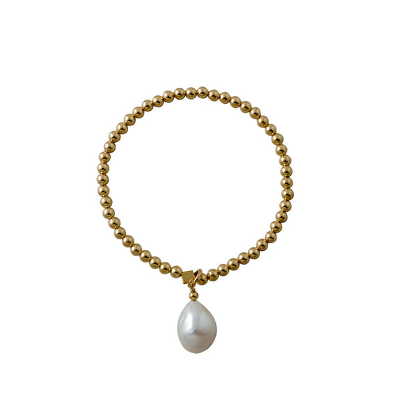 Von treskow Yellow Gold Stretchy Baroque Pearl Bracelet - Von Treskow - Jewellery - Paloma + Co Adelaide Boutique